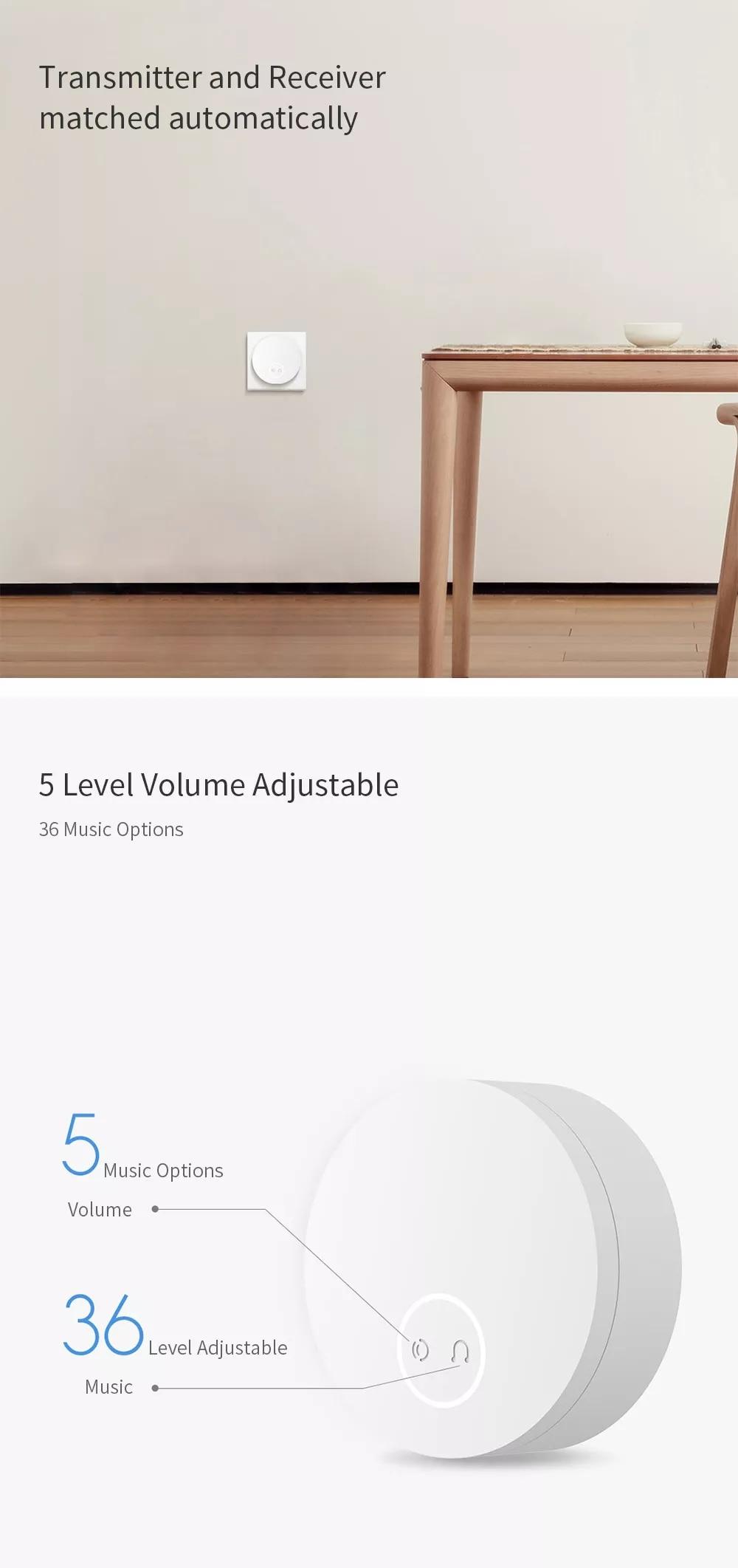 Xiaomi Mijia Linptech WIFI sonnette sans fil auto-génératrice d'énergie fonctionne avec Mijia APP fonction de mémoire de contrôle intelligent AC 110-240V