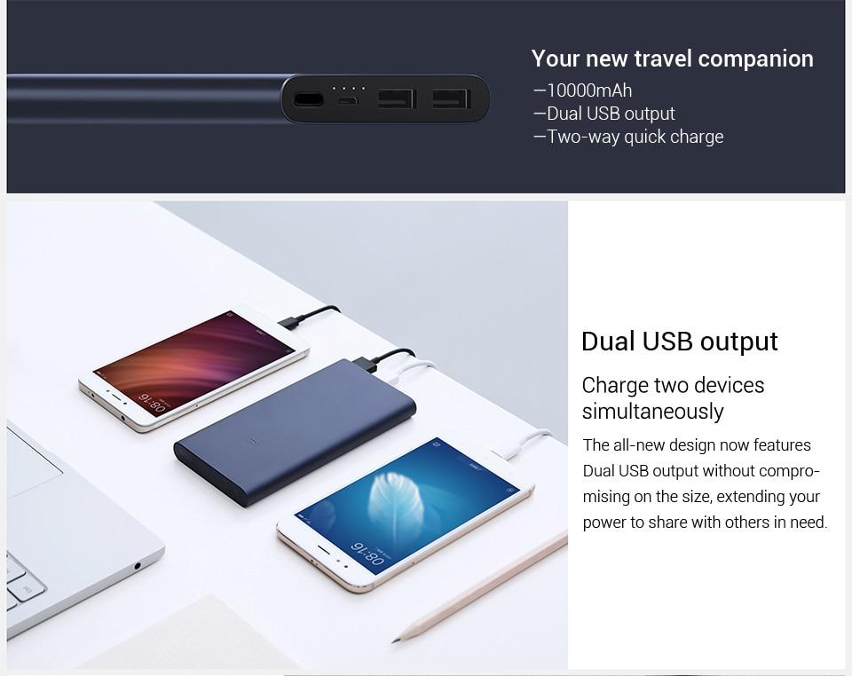 Original 10000mAh Xiao mi mi batterie externe 2 batterie externe 15W Charge rapide Powerbank 10000 PLM01ZM avec double sortie USB