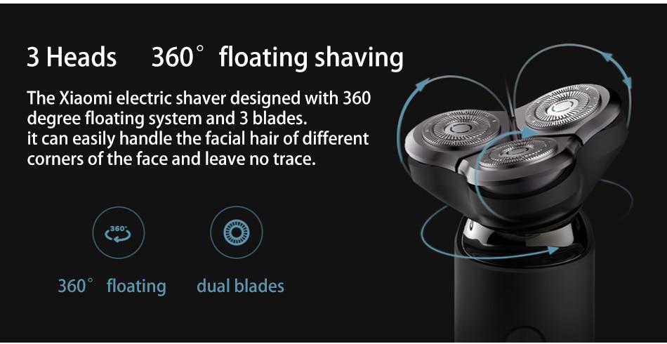 Xiaomi Mijia rasoir électrique rasoir pour hommes Type C Rechargeable 3 tête sèche humide rasage Machine tondeuse à barbe lavable double lame