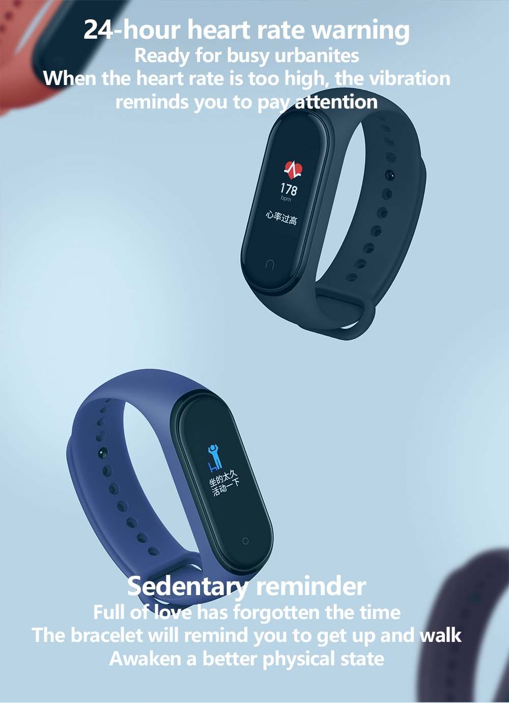 Xiaomi mi bande 4 bracelet de fitness xiaomi bracelet intelligent fréquence cardiaque fitness 135mAh couleur écran bluetooth 5.0 bracelet intelligent