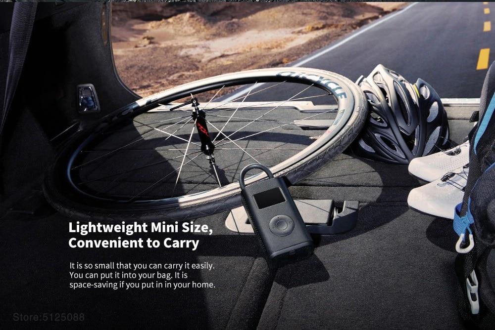 XIAOMI MIJIA Pompe de gonflage électrique pour vélo Moto Voiture Football et scooter M365 Portable Détecteur de pression de pneu numérique intelligent Batterie intégrée multi-buses pour gonfleur de maison intelligente