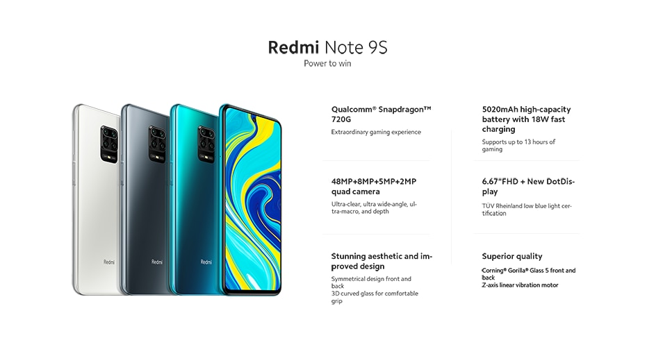 Xiaomi Redmi Note 9S 6GB 128GB Pré-vente Xiaomi Redmi Note 9 S 6GB 128GB Version mondiale Smartphone Snapdragon 720G Octa core 5020 mAh 48MP Quad caméra Note 9 S