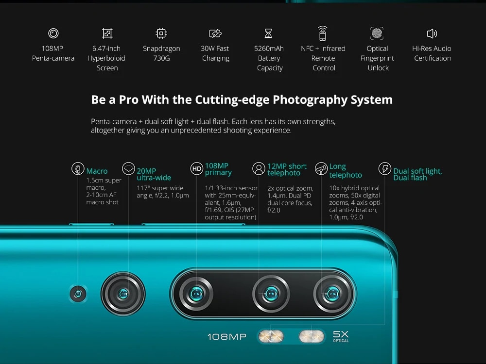 Version mondiale Xiao mi Note 10 Pro 8GB 256GB téléphone portable NFC Snapdragon 730G Octa Core 108MP caméra 5260mAh 30W Smartphone rapide