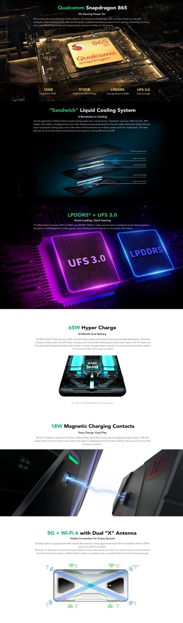 L'UE Version Xiaomi Noir Requin 3 5G 128GB Rom 8 GO de Ram ,5G téléphone Jeux [Nouvellement Lancement Promo] Smartphone Mobile blackshark3